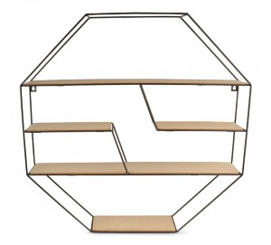 Półka loft hexagon metal mdf